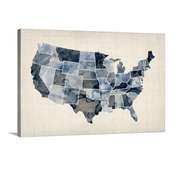 Map Of United States Of America Watercolor In Blue Wall Art - Canvas - Gallery Wrap