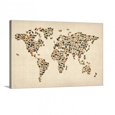Map Of The World Cats Wall Art - Canvas - Gallery Wrap