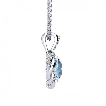 Megan Aquamarine Pendant - White Gold