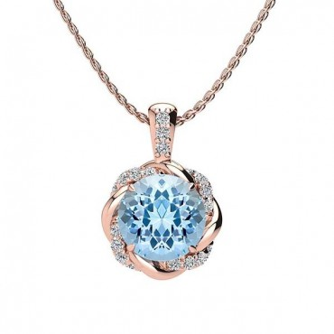 Megan Aquamarine Pendant - Rose Gold