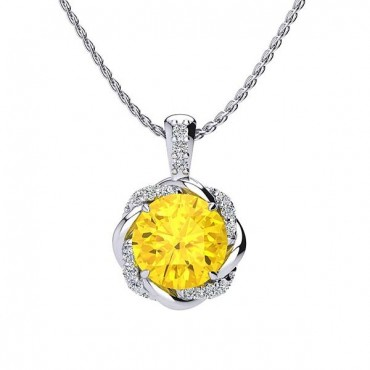 Megan Citrine Pendant - White Gold