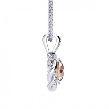 Megan Morganite Pendant - White Gold