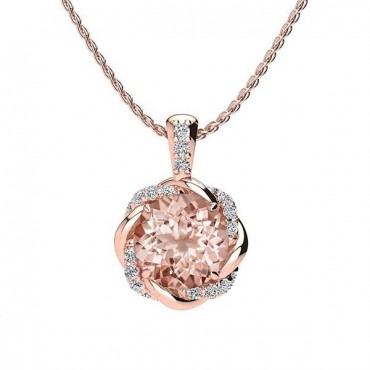 Megan Morganite Pendant - Rose Gold