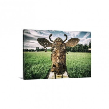 Metal Cow Sculpture In The Palouse Washington Wall Art - Canvas - Gallery Wrap