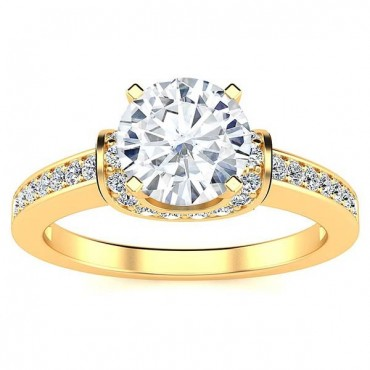 Mia Moissanite Ring - Yellow Gold