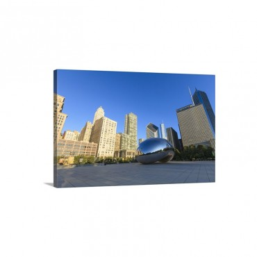 Millennium Park And The Cloud Gate Steel Sculpture Chicago Illinois Wall Art - Canvas - Gallery Wrap