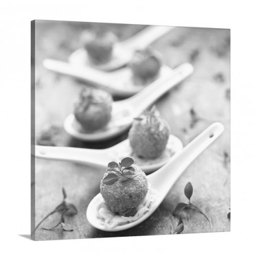 Mini Crab Cakes On Cabbage Salad Asia Wall Art - Canvas - Gsallery Wrap