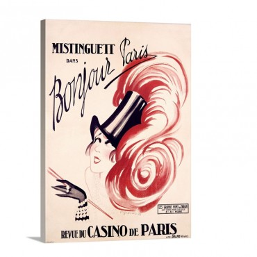 Mistinguett Bonjour Paris Vintage Poster By Charles Gesmar Wall Art - Canvas - Gallery Wrap