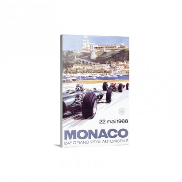 Monaco 1966 Vintage Advertising Poster Wall Art - Canvas - Gallery Wrap