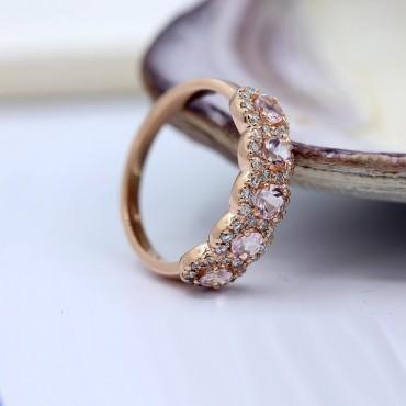 Morganite Rose Gold Wedding Ring