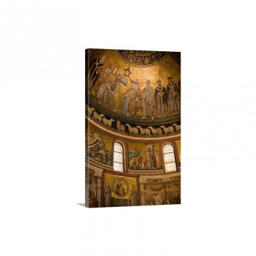 Mosaics By Pietro Cavallini Apse Of Santa Maria In Trastever Basilica Rome Wall Art - Canvas - Gallery Wrap
