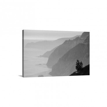 Mountains Jut From A Misty Sea At Sunset Big Sur California Wall Art - Canvas - Gallery Wrap