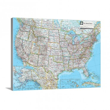 NGS Atlas Of The World Eighth Ed Political Map Of The United States Wall Art - Canvas - Gallery Wrap