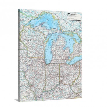 NGS Atlas Of The World 8th Ed Political Map Of The Great Lakes Region Wall Art - Canvas - Gallery Wrap