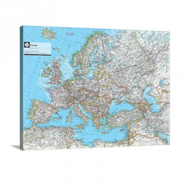 NGS Atlas Of the World Eighth Edition Political Map Of Europe Wall Art - Canvas - Gallery Wrap