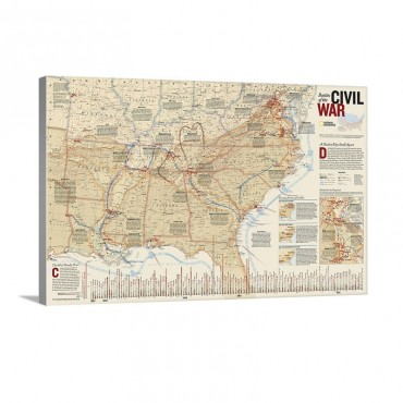 National Geographic Map Showing States Embroiled In The Civil War Wall Art - Canvas - Gallery Wrap