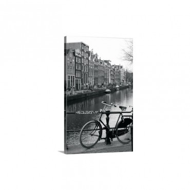 Netherlands Amsterdam Bicycle Parked By Canal B Wall Art - Canvas - Gallery Wrap