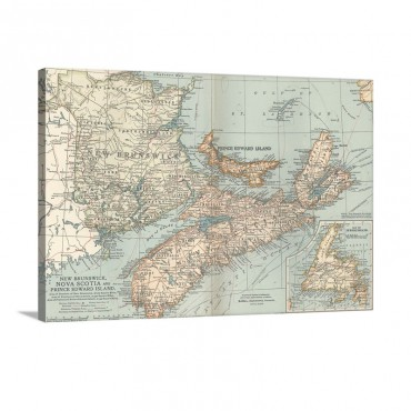 New Brunswick Nova Scotia And Prince Edward Island Vintage Map Wall Art - Canvas - Gallery Wrap