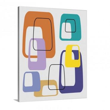 Oblongs On Grey In Purple Aqua And Orange Wall Art - Canvas - Gallery Wrap