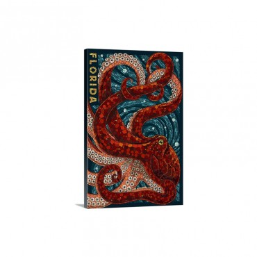 Octopus Paper Mosaic Florida Retro Travel Poster Wall Art - Canvas - Gallery Wrap