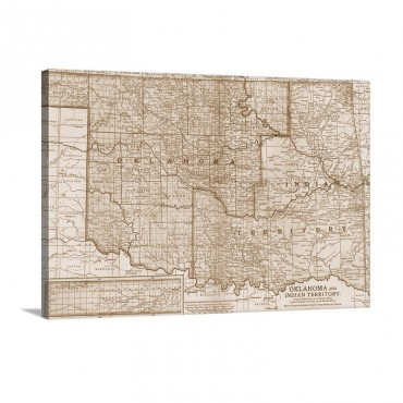 Oklahoma And Indian Territory Vintage Map Wall Art - Canvas - Gallery Wrap