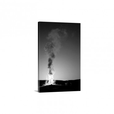 Old Faithful Geyser Erupting At Sunset Wall Art - Canvas - Gallery Wrap