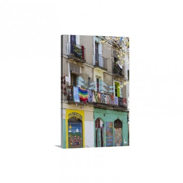Old Building In Rambla Del Raval Decorated By Illegal tenants El Raval District Wall Art - Canvas - Gallery Wrap