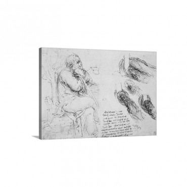 Old Man Sitting Sketches On Water Movement By Leonardo Da Vinci Wall Art - Canvas - Gallery Wrap