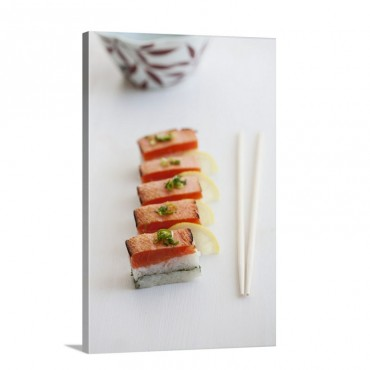 Oshi Sushi With Seared Salmon Sliced Spring Onions And Lemons Wall Art - Canvas - Gallery Wrap