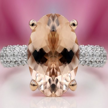 Peachy Pink Morganite Ring