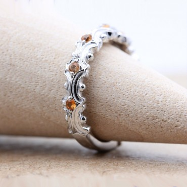 Yellow Sapphire Vine Dainty Stackable Ring