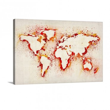 Paint Stencil Map Of The World Wall Art - Canvas - Gallery Wrap