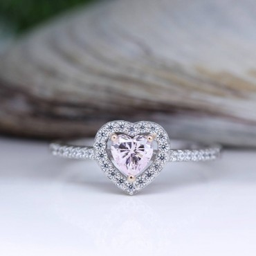 Pink Heart Silver Ring