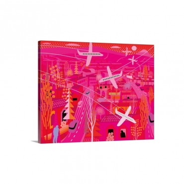 Pink Los Angeles Wall Art - Canvas - Gallery Wrap
