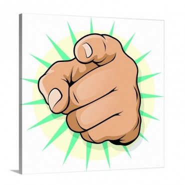 Pop Art Style Pointing Finger Wall Art - Canvas - Gallery Wrap