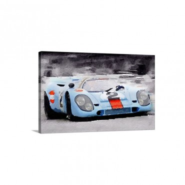 Porsche 917 Gulf Watercolor Wall Art - Canvas - Gallery Wrap