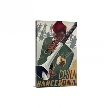Poster Of The Traditional Catalan Music Group Cobla Sardanista Barcelona 1930's Wall Art - Canvas - Gallery Wrap