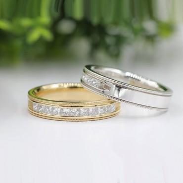 0.50CT.TW Princess Cut Diamond Channel Set Wedding Band