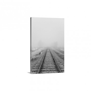 Railroad Tracks Fade Into The Morning Fog Wall Art - Canvas - Gallery Wrap