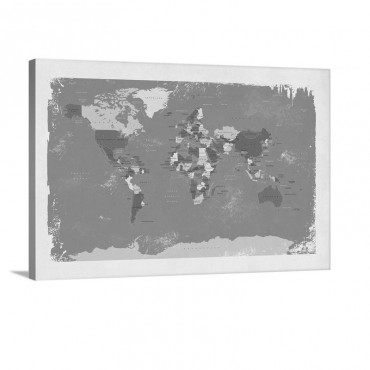 Retro Political Map Of The World Wall Art - Canvas - Gallery Wrap