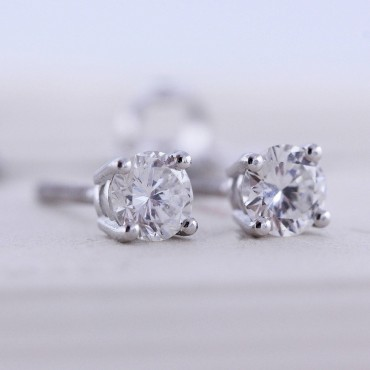 1CT Round Moissanite Stud Earrings