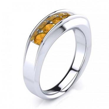 Steve Citrine Men Ring - White Gold