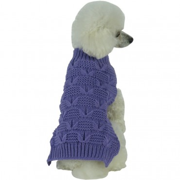 Butterfly Stitched Heavy Cable Knitted Fashion Turtle Neck Dog Sweater