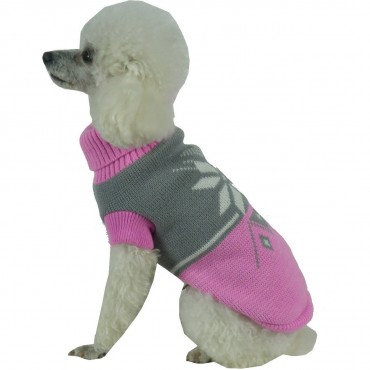 Snow Flake Cable-Knit Ribbed Fashion Turtle Neck Dog Sweater