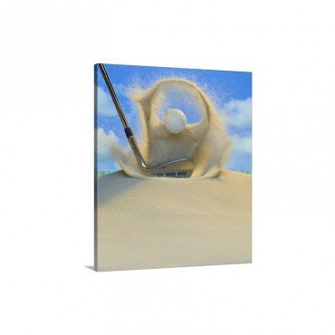Sand Wedge Hitting A Golf Ball Out Of A Sand Trap Wall Art - Canvas - Gallery Wrap