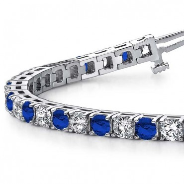 Sapphire And Diamond Bracelet - White Gold