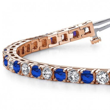 Sapphire And Diamond Bracelet - Rose Gold