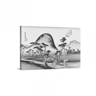 Scenery Of Hiratsuka In Edo Period Painting Woodcut Japanese Wood Block Print Wall Art - Canvas - Gallery Wrap