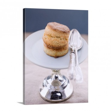 Scones With Silver Cutlery On A Cake Stand Wall Art - Canvas - Gallery Wrap