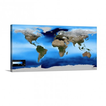 Sea Surface Density Global Map Wall Art - Canvas - Gallery Wrap
